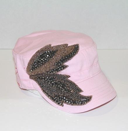 Light Pink Beaded Vintage Leaves Cadet Hat by Olive & Pique
