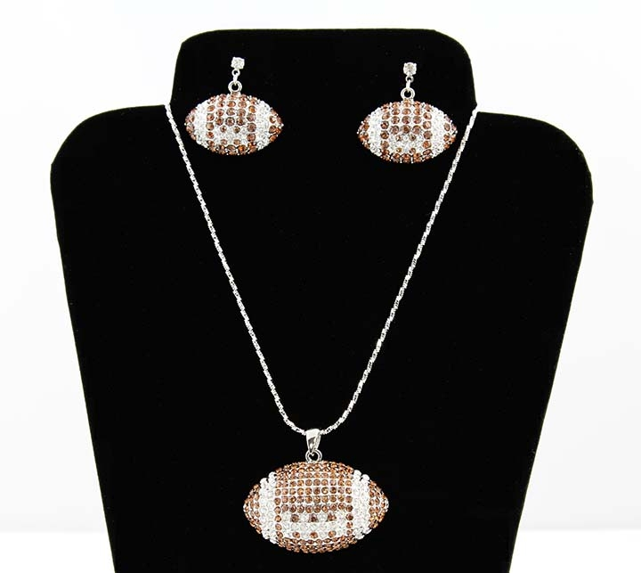 Football Necklace and Earrings Set