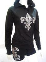 silver fleurdelis raw edge hoodie & Shorts set