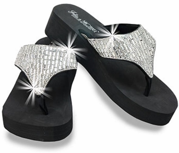 Bling Rhinestone Wedge Flip Flops by Julia & Michael