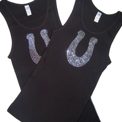 Black CRYSTAL HORSESHOE Tank Top