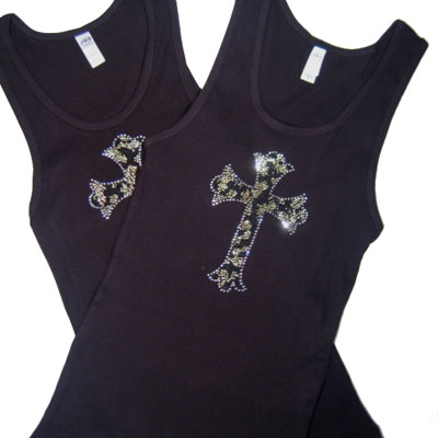 Black LEOPARD CROSS Tank Top