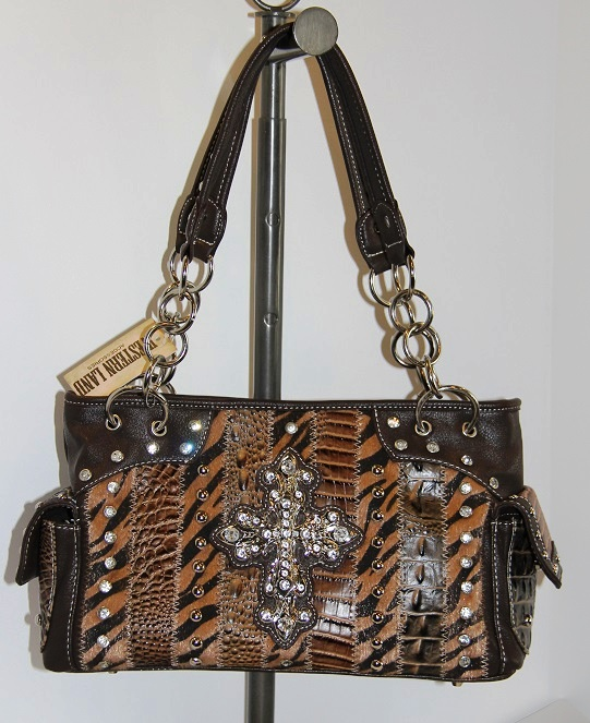 Rhinestone Cross Animal Patchwork Zebra Handbag