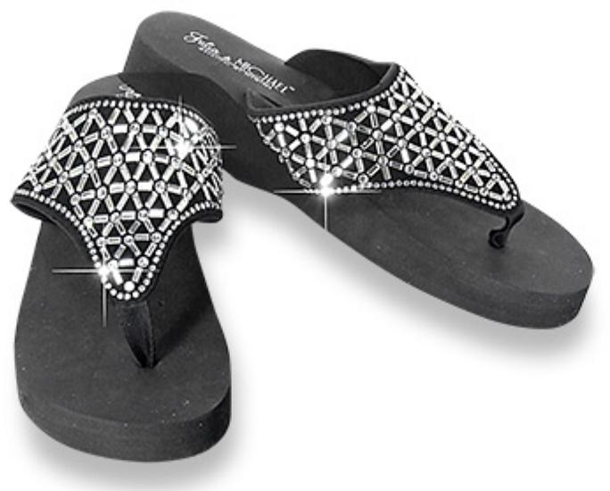 Bling Rhinestone Design Wedge Flip Flops by Julia & Michael