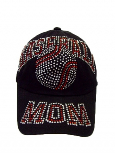 Baseball Mom Rhinestone Hat