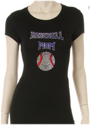 BASEBALL MOM RHINESTONE DESIGN Short Sleeve Shirt