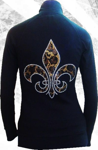 rhinestone stud Fleur De Lis zip up jacket