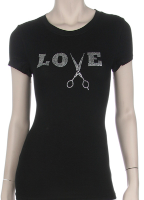 LOVE WITH SCISSOR RHINESTONE SHIRT