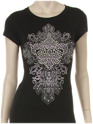 FLEUR DE LIS WITH CROSS EMBELLISHMENT RHINESTONE SHIRT