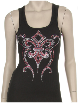 STUDDED EMBELISHED FLEUR DESIGN Tank Top