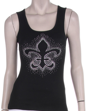 EMBELISHED FLEUR DE LIS RHINESTONE DESIGN Tank Top