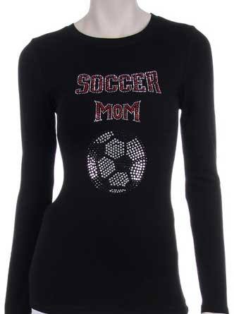 PINK RHINESTONE SOCCER MOM DESIGN LONG SLEEVE SHIRT