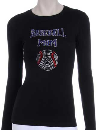 BASEBALL MOM RHINESTONE DESIGN LONG SLEEVES SHIRT