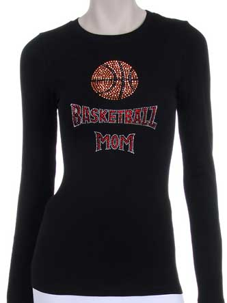 BASKETBALL MOM RHINESTONE DESIGN LONG SLEEVES SHIRT