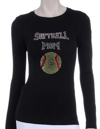 SOFTBALL MOM RHINESTONE DESIGN LONG SLEEVES SHIRT