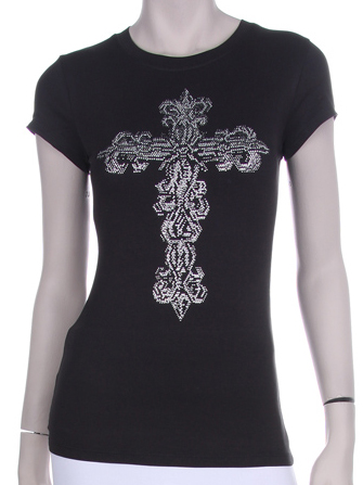 TATTOO BIG CROSS RHINESTONE SHIRT