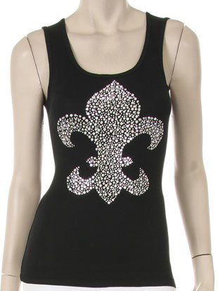 JUMBO SILVER STUDED FLEUR DE LIS DESIGN Tank Top