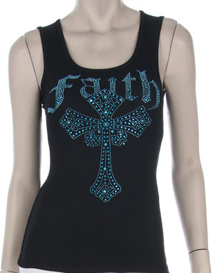Blue Rhinestone Faith Tank Top