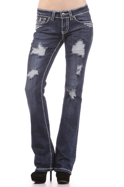 Faded bootcut jeans with embroidered pocket and rips