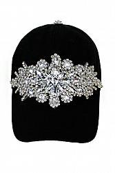 Bling Clear Crystal Flower Rhinestone Baseball Hat
