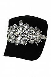 Bling Clear Crystal Flower Cadet Hat
