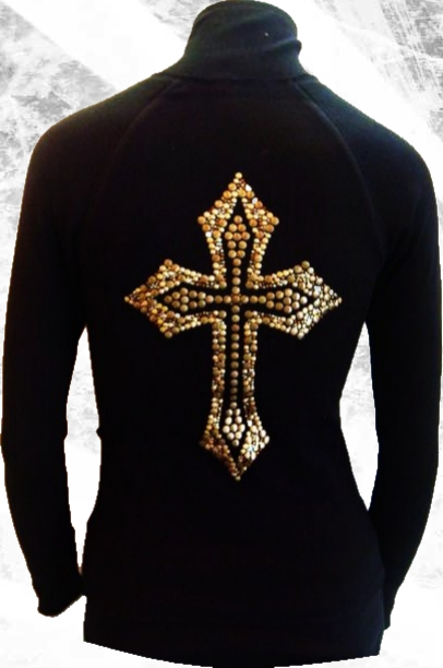 rhinestone stud cross zip up jacket by olive & pique