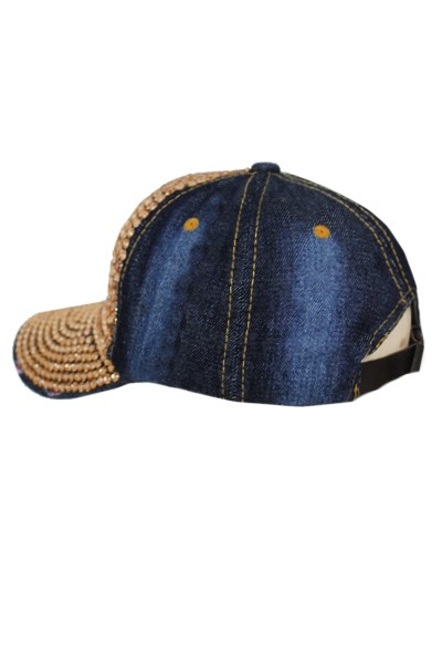 All Gold Rhinestone Dark Denim Baseball Cap