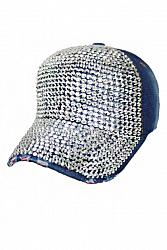 All Bling Stone Studded Distressed Cap - Denim Blue