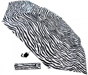 "42"" Zebra Print Expandable Umbrella"