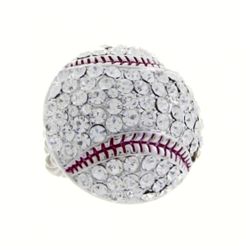 Rhinestone Baseball Ring-Clear