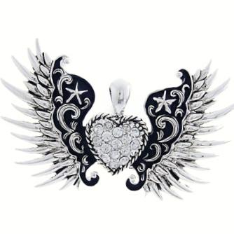 Wing Pendant-Silver/Black