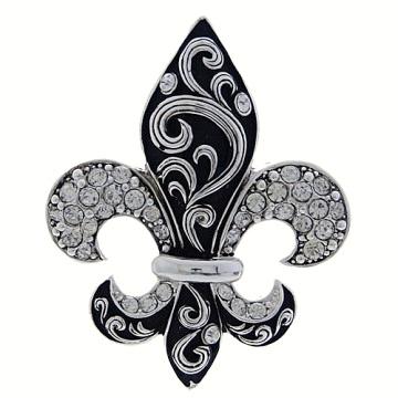 Fleur De Lis Pendant-Silver/Black
