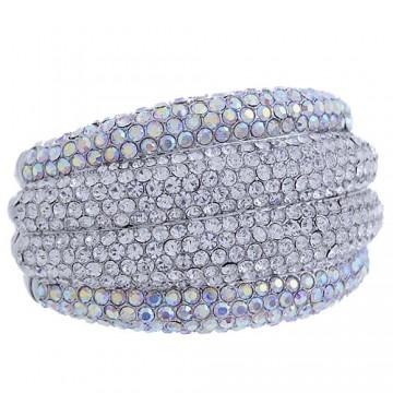 Rhinestone Crystal Hinge Bracelet-Clear