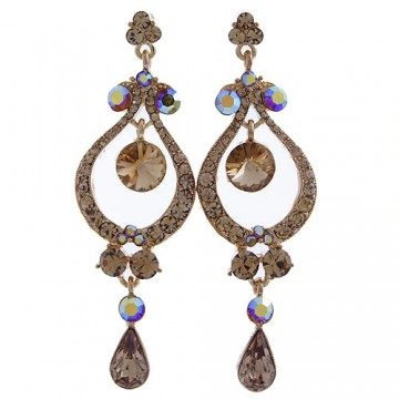 Crystal Chandelier Earrings-Topaz