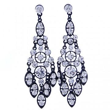 Crystal Chandelier Earrings-Clear