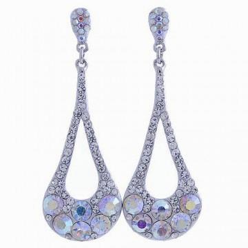 Rhinestone Long Drop Earrings-Clear/AB