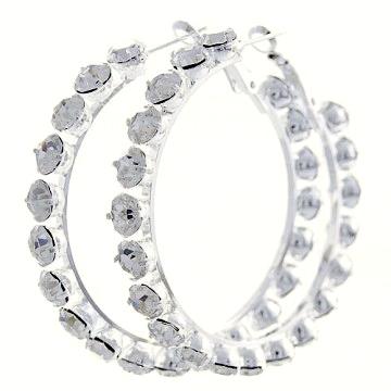 Lucite Crystal Hoop Earrings-Silver/Clear