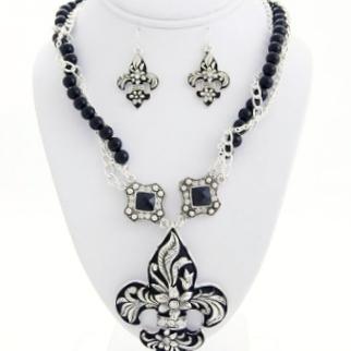 Fleur De Lis Charm Necklace Earring Set-Silver/Black