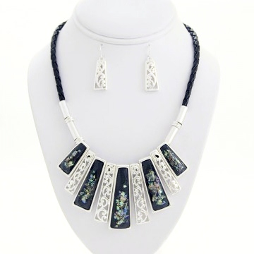 Cord with Abalone Necklace Earring Set-Silver