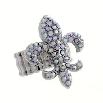 Rhinestone Fleur De Lis Ring-Silver/AB