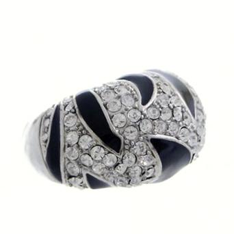 Rhinestone Crystal Animal Prints Ring-Silver/Clear