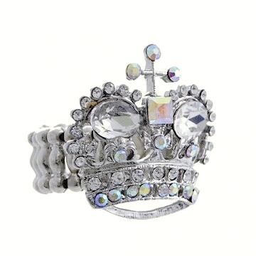 Rhinestone Crystal Crown Ring-Clear