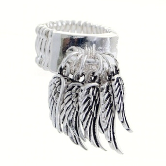 Wing Charm Band Ring-Silver
