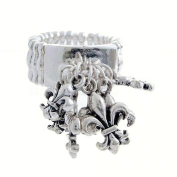 Fleur De Lis Charm Band Ring-Silver