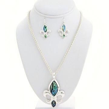 Fleur De Lis Charm Necklace Earring Set-Silver/Green