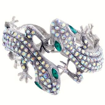 Rhinestone Crystal Lizard Cuff Bracelet