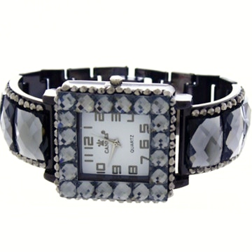 Crystal Link Watch-Hematite/Black Daimond
