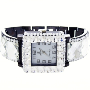 Crystal Link Watch-Hematite/Clear