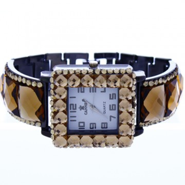 Crystal Link Watch-Hematite/Topaz