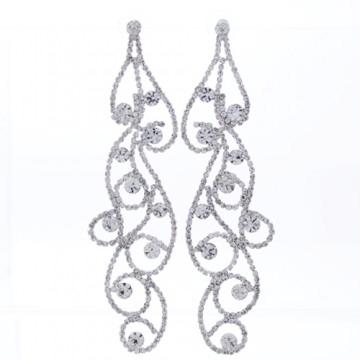 Rhinestone Crystal Drop Earrings-Silver/Clear
